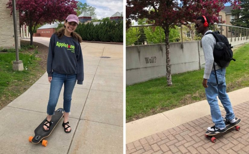 Two photos side-by-side. One of a female Lawrence student standing on a longboard. The other of a male student rolling down the sidewalk on a longboard.