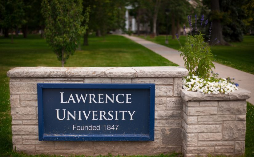 Lawrence University signage on Main Hall Green.