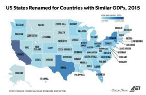 US States and Economies with Similar GDPs, 2015