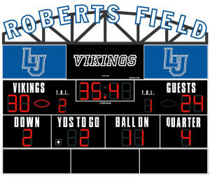 The name Roberts Field will sit atop the new scoreboard in the Banta Bowl.