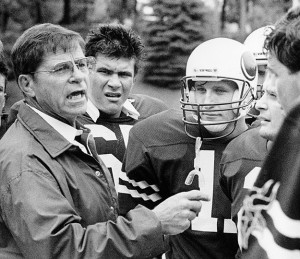 Ron Roberts, left, coached the Lawrence football team for 20 seasons, won six Midwest Conference championships, reached the semifinals of the 1981 NCAA Division III playoffs and compiled a record of 121-54-1.