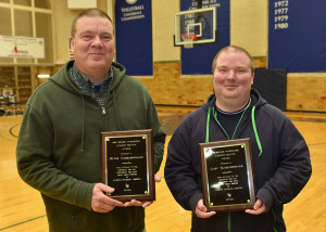 Butch (left) and Andy Vandenboogard received the Bob Wurdinger Athletic Service Award on Feb. 17.