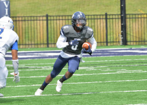 Terrell Myers Jr., returned a kickoff 100 yards for a touchdown against Illinois College this past Saturday.