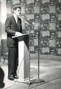 J.F.K. speaks in Riverview Lounge, March 11, 1960