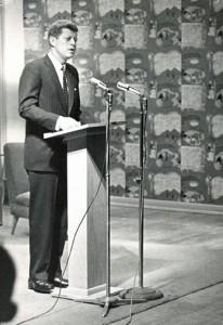 J.F.K. speaks in Riverview Lounge, March 11, 1960