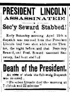 Appleton Motor headline, April 20, 1865