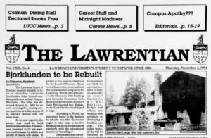 Cover of The Lawrentian, 1994-11-03
