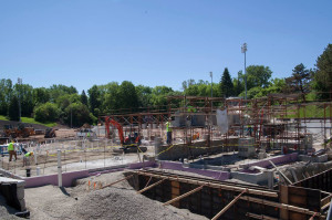 Construction work on the Banta Bowl is progressing rapidly and scheduled to be completed in September.