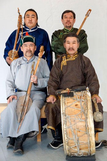 "A photo of Tuvan throat singing group ""Huun Huur Tu."""
