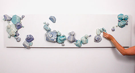 "A photo of Shannon Sullivan's ""Interractive Bubble Array"" work in the exhibition ""FACET."""
