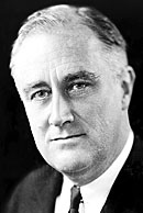 A Head shot of Franklin Roosevelt.