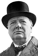 A Head shot of Winston Churchill.