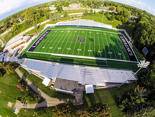 A fisheye photo of Lawrence University stadium Banta Bowl.