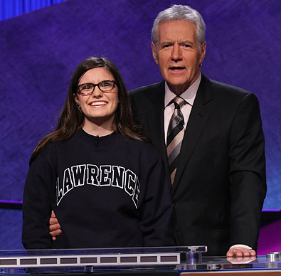 A photo of Lawrence University student Allison Holley with Jeopardy host Alex Trebek.