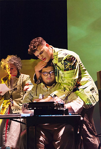 "A photo of Lawrence University students performing in the university's opera production ""Hydrogen Jukebox."""