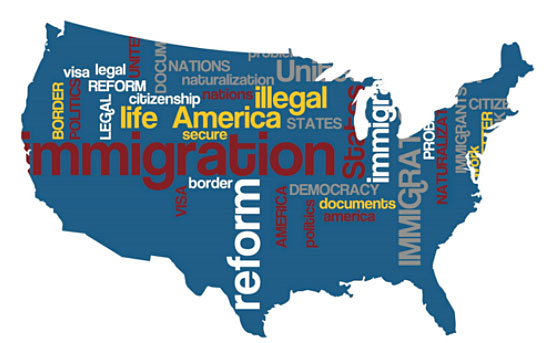 A photo of the United States map with immigration issues.