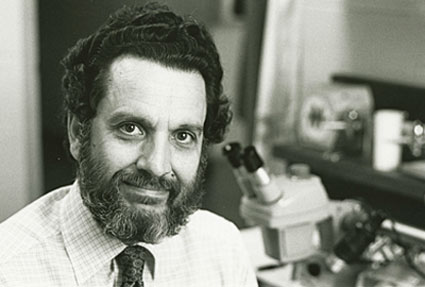 A photo of former Lawrence University biology professor Michael LaMarca in the laboratory.
