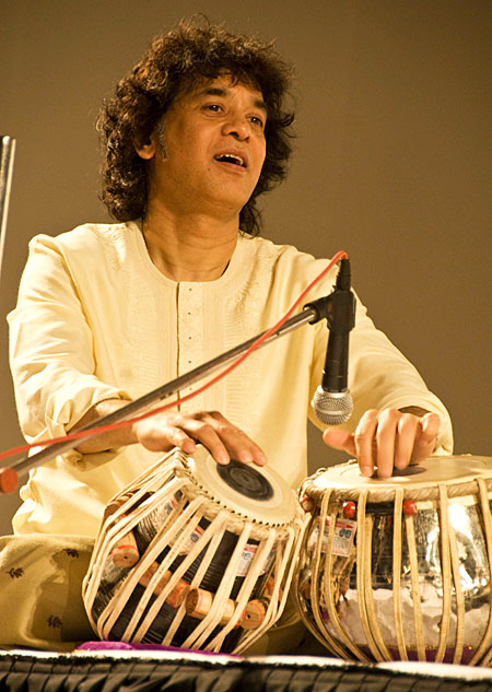 A photo of Indian muscian Zakir Hussain