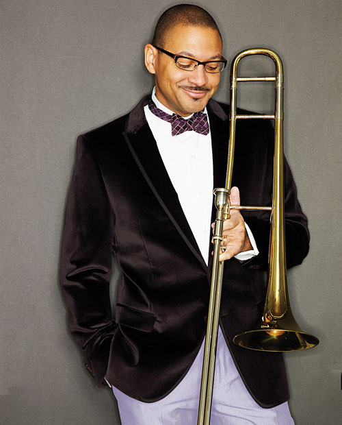A photo of saxophonist Delfeayo Marsalis