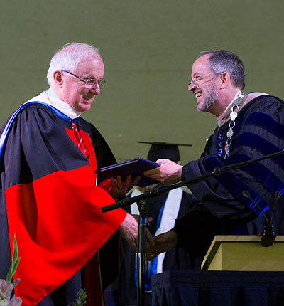 DAve Burrows receives honorary degree from President Mark Burstein