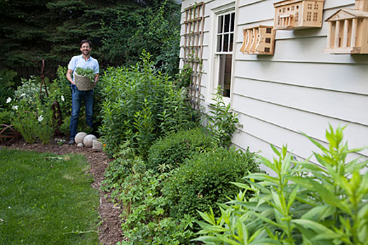 David Calle standing in president's house garden.