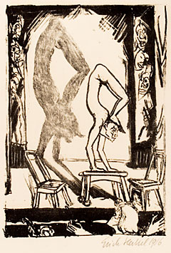 "Line drawing ""Handstand (Acrobat)"" by Erich Heckel"