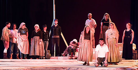 "Scene from the ending of the play ""The Burial at Thebes"""