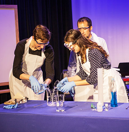 A chemistry demonstration on Giving Day