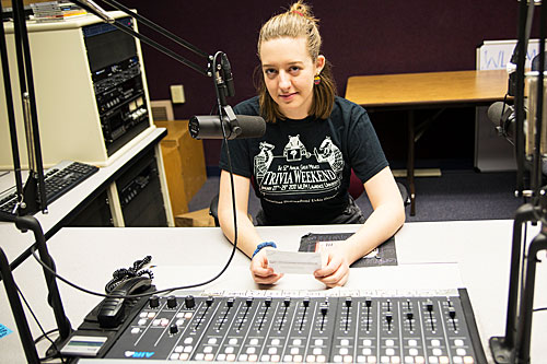 Jenny Hanrahan in the WLFM studios