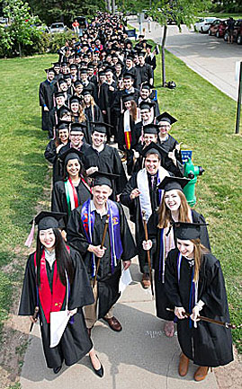 Graduating seniors lined up in cap and gown