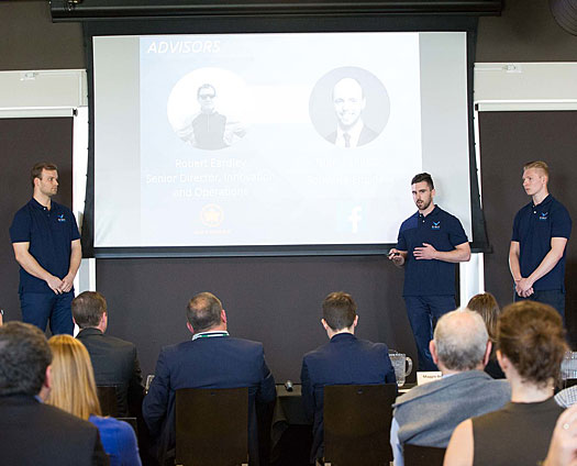 Three Lawrence students presenting their idea at the 2017 The Pitch competition