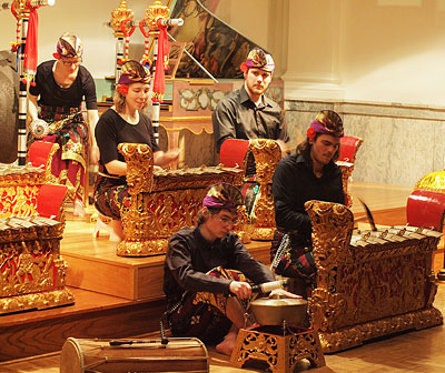 members of the Lawrence gamelan ensemble