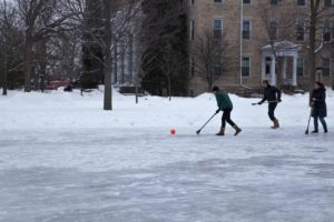 Broomball being played on Lake Ormsby.