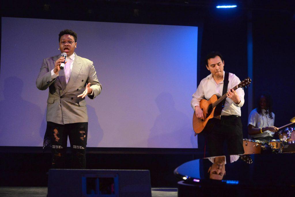 Kyree Allen and Sam Alika Bader perform a song at Cultural Expressions.