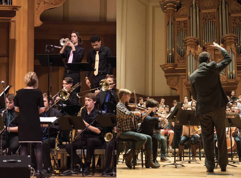 Side-by-side photos of Lawrence Jazz Ensemble and Symphony Orchestra.