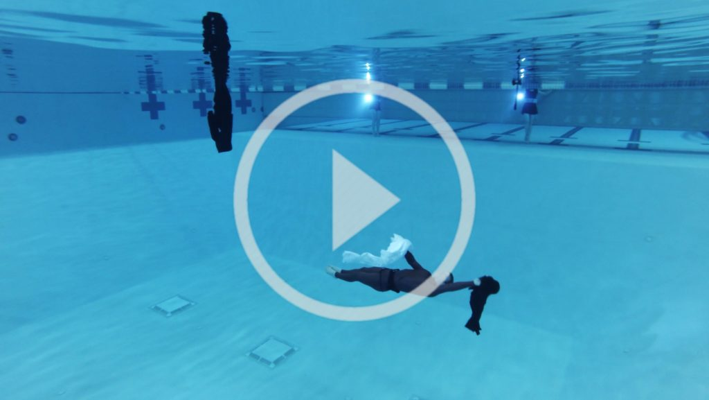 """A photo link to video of """"Breathe"""" rehearsal at the Buchanan Kiewit Wellness Center pool."""
