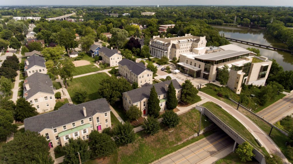 Aerial photo showing the Warch Center and the quad on the Lawrence University campus.
