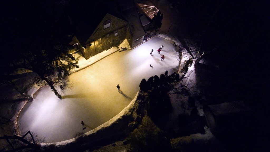 An aerial view of the ice rink in the McKees' yard.
