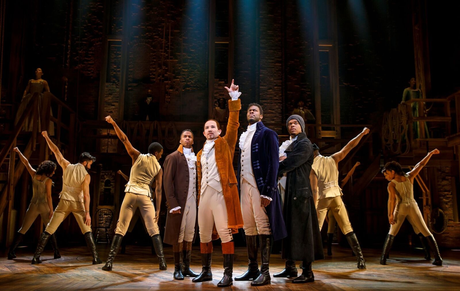 "Publicity photo of ""Hamilton"" performance."
