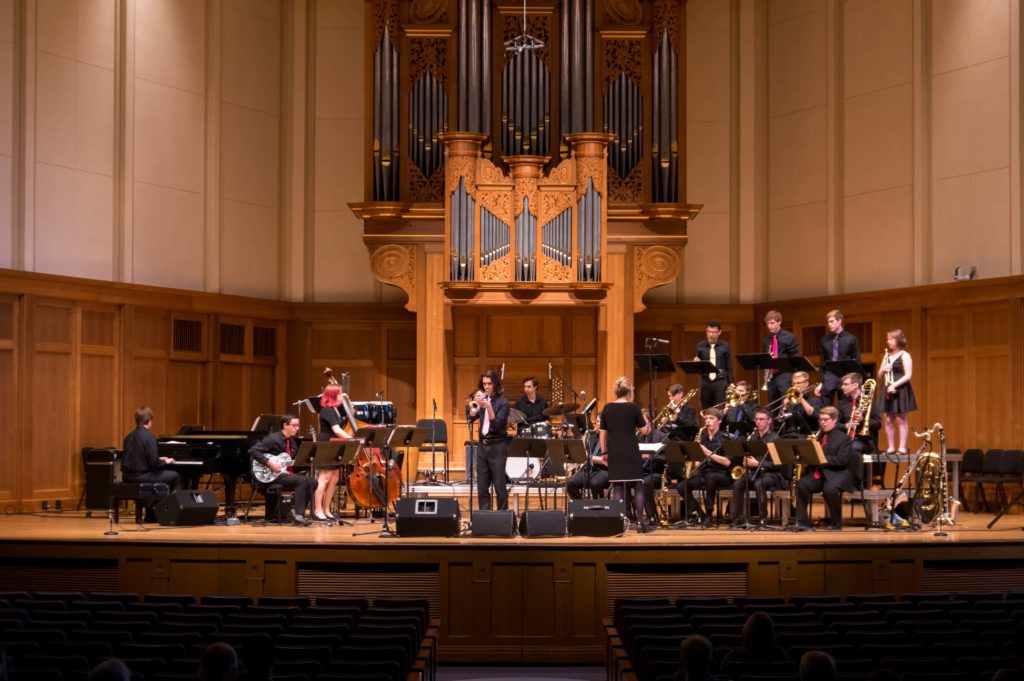 Lawrence University Jazz Ensemble performs at Memorial Chapel.