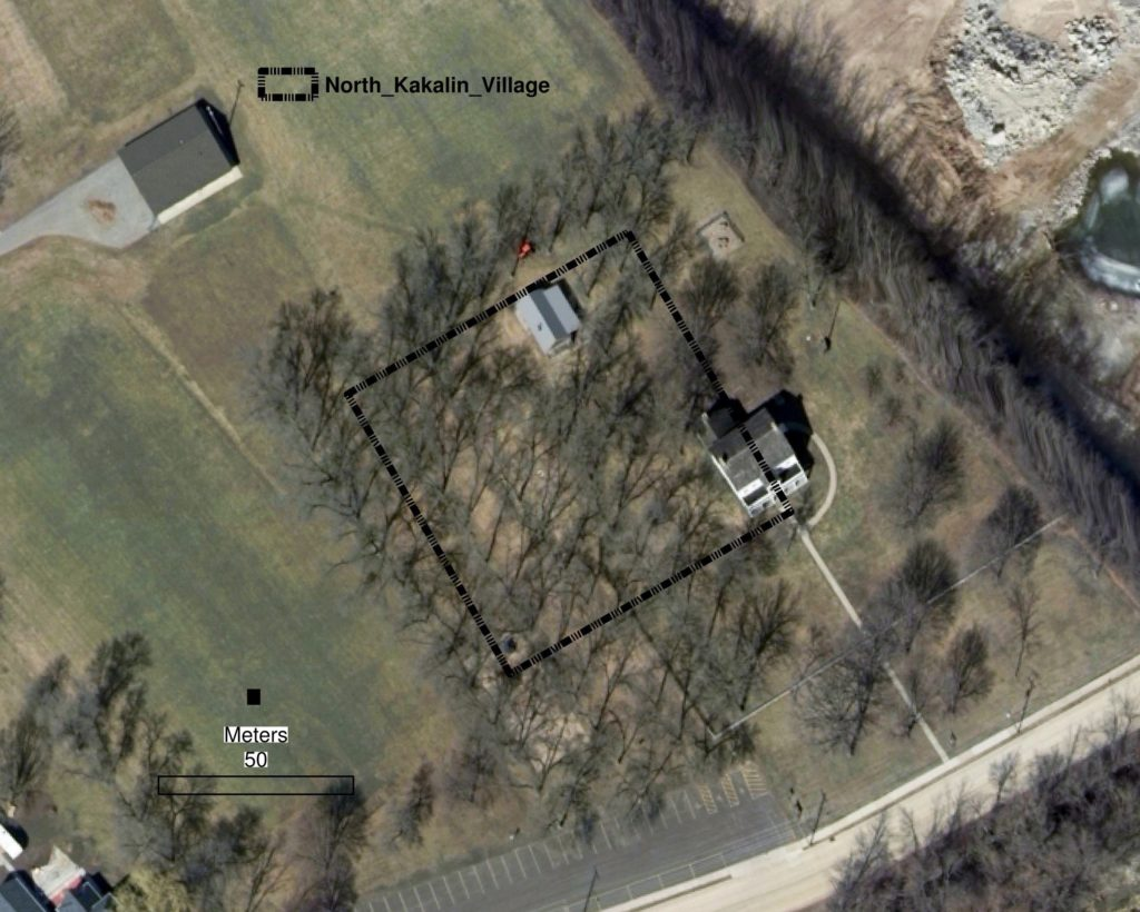 This graphic, showing an aerial view of the Grignon Mansion property in Kaukauna, depicts where Lawrence University Professor of Anthropology Peter Peregrine believes a Native American longhouse community once resided.
