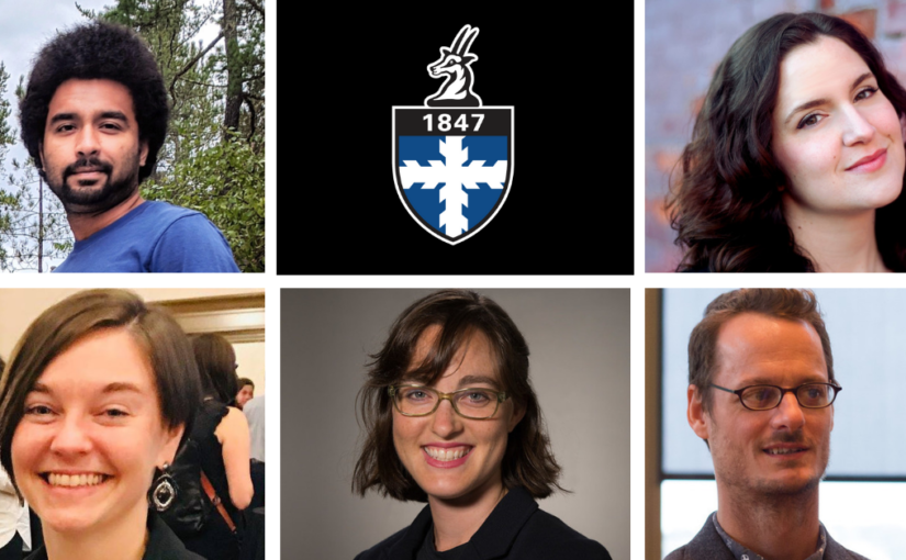 Collage featuring 5 new Lawrence University faculty members.