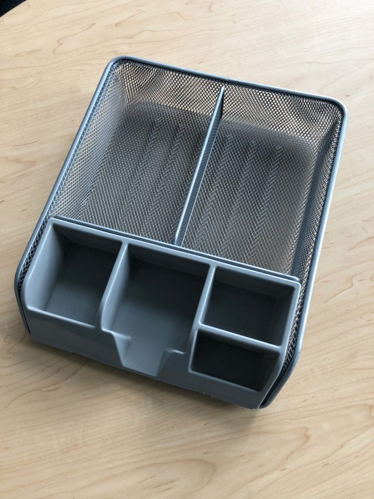Photo of gray desk organizer.