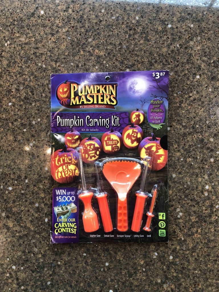 Photo of packaged pumpkin carving kit.