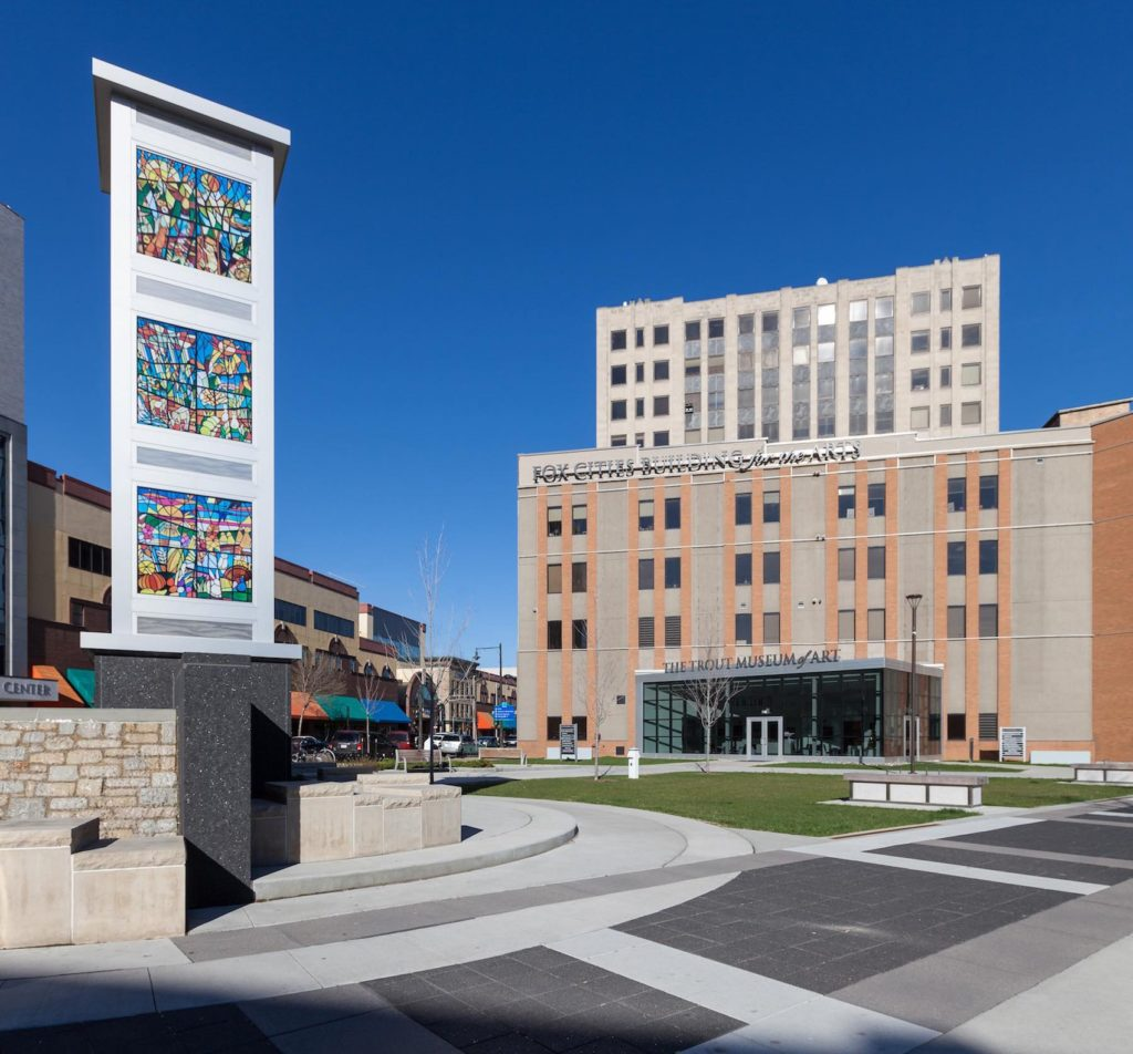 A view of Houdini Plaza and the Trout Museum of Art in the heart of downtown Appleton.