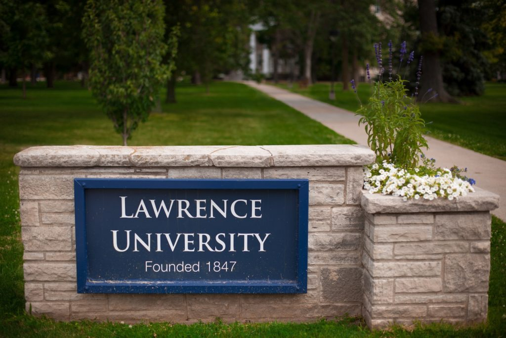 "Sign on the corner of campus that reads ""Lawrence University. Founded in 1847."""