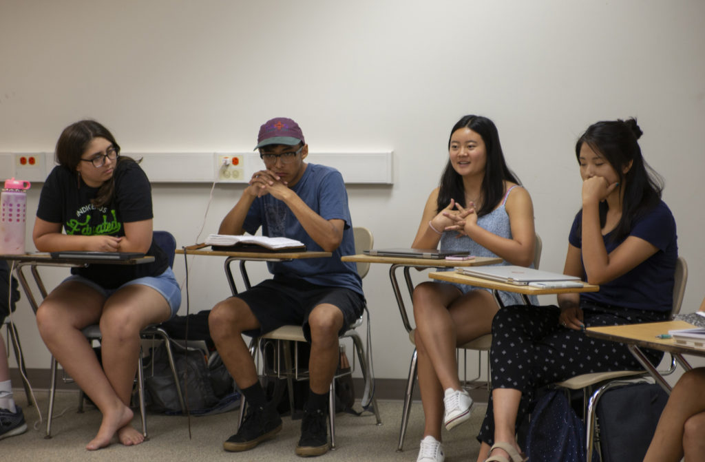 Scholars Program students take part in a classroom discussion in Briggs Hall.