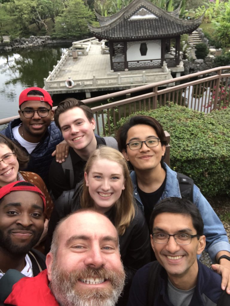 Students and faculty pose for a selfie on a D Term trip to Hong Kong in 2018.