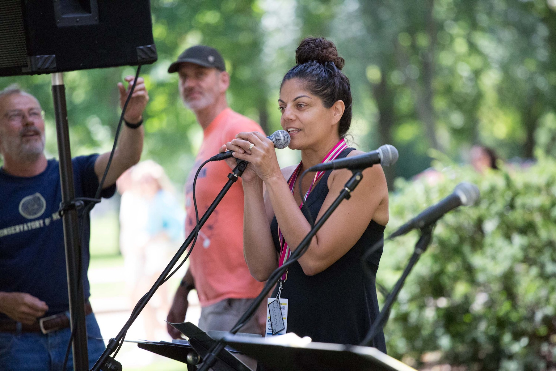 Leila Ramagopal Pertl participates in a sing-along at an earlier Mile of Music festival.