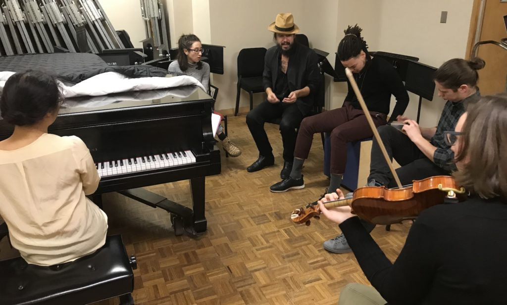 Cory Chisel works with five Lawrence students on a song as part of the Sound Lab: American Roots Music class.